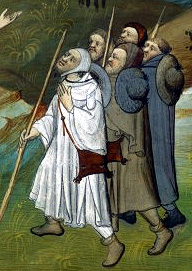 Pilgrims with hats, caps, scrip bags, short boots, and rods.