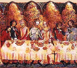 Head table being served at a feast from a 14th century manuscript
