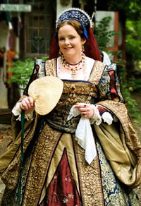 Woman in elegant Tudor garb